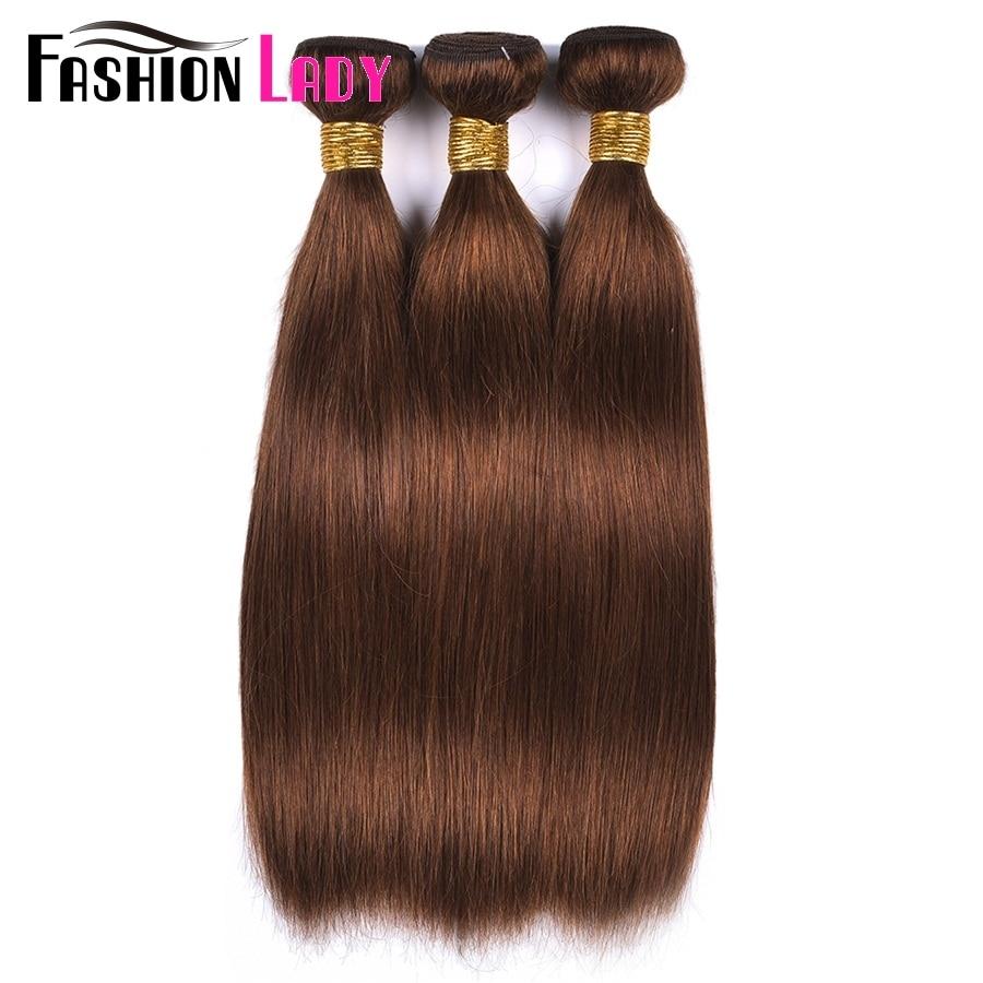 Image 4 - FASHION LADY Pre Colored One Piece Brazilian Straight Hair 100% Human Hair Weave #4 Medium Brown Human Hair Bundles Non RemyHair Weaves   -
