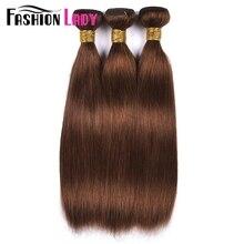 Moda senhora pré colorido de uma peça cabelo reto brasileiro 100% tecer cabelo humano #4 feixes cabelo humano marrom médio não remy