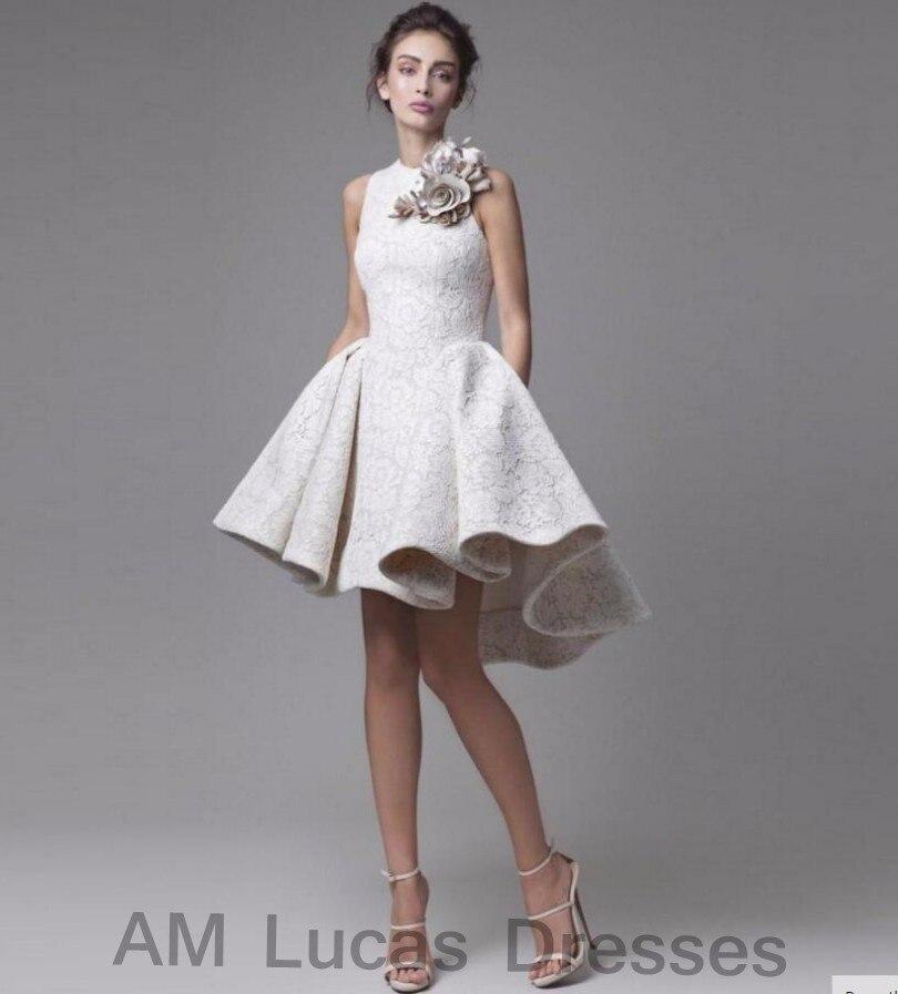 Новое поступление элегантные коктейльное кружевное платье с открытыми плечами Высокая Низкая Вечерние платья Короткие платья Праздничное
