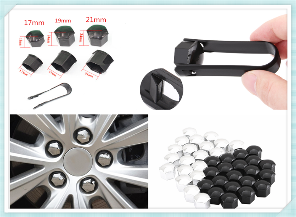 20 Pieces Wheel Nut Caps Bolt Covers ABS Hex Plus Removal Caps Accessory T