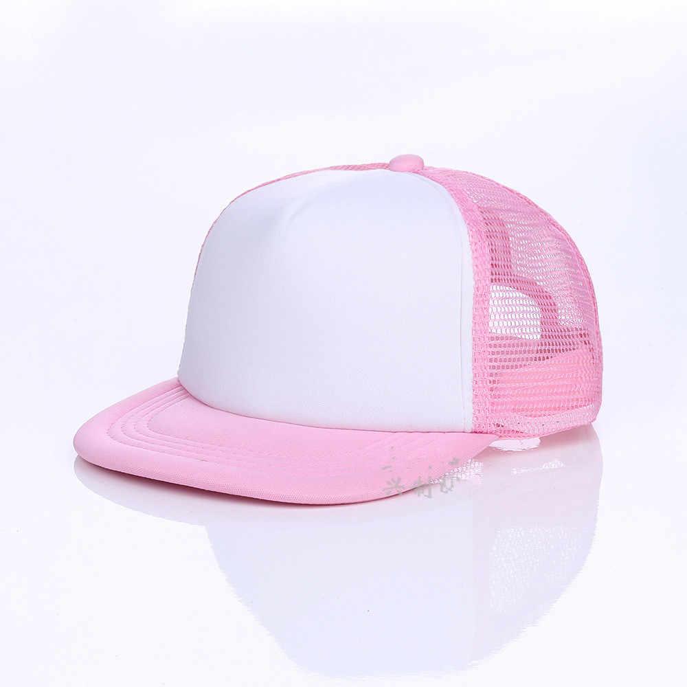390c2b3d065 ... Kids Breathable DIY printing Logo Baseball Caps Snapbacks Flat Custom  Logo Hats Trucker Caps Boy Girls ...