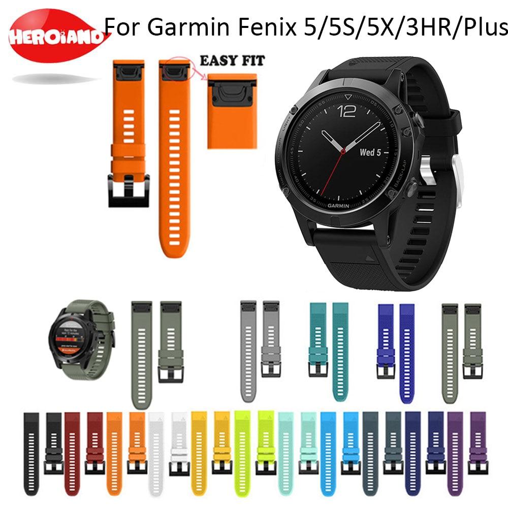 26 22 20MM Watchband Strap for Garmin Fenix 5X 5 5S 3 3HR D2 S60 GPS Watch Quick Release Silicone Easyfit Wrist Band Strap