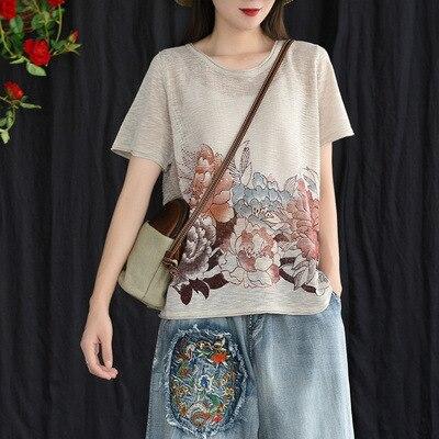 BUYKUD Vintage femmes Blouse en lin imprimé Floral o-cou à manches courtes lâche été Feminina Blusas été lâche chemise