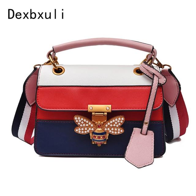 Women Splicing Shoulder Bags Bling Small Bee Luxury Brand Designer Handbag  Crossbody Messenger Bag Female Clutch Girls Gift Red cfae738ff3191