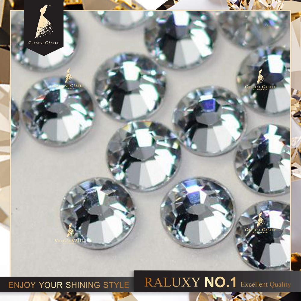 Crystal Castle 5A 1440Pcs SS10 2.7-2.9mm Clear White Iron On Crystal Hotfix Strass Flatback Rhinestone Hot Fix For Clothing