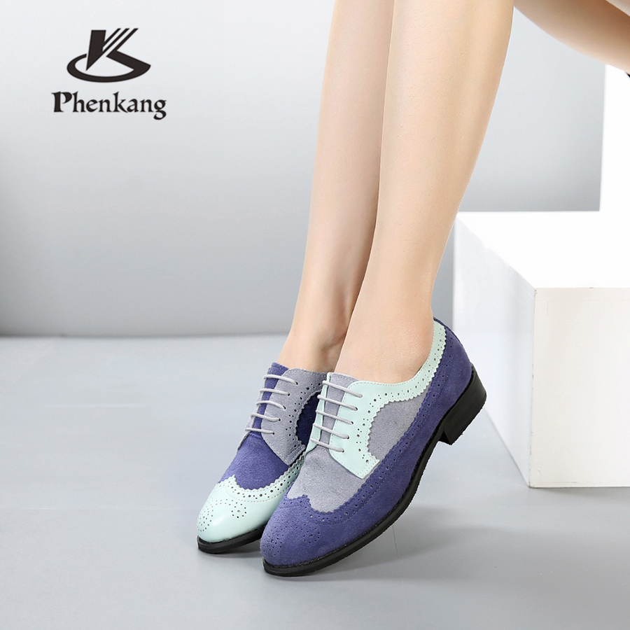 Genuine cow leather brogues designer vintage lady flats shoes handmade oxford shoes for women blue grey 2018 with furGenuine cow leather brogues designer vintage lady flats shoes handmade oxford shoes for women blue grey 2018 with fur