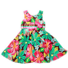 Детская одежда платья летние из 100% хлопка без рукавов с бантом