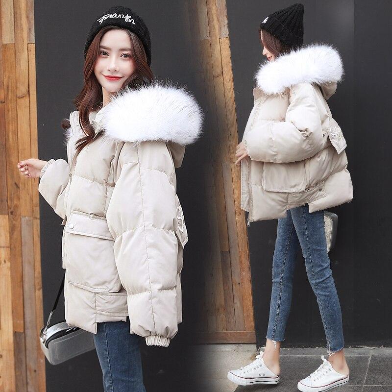 hiver Automne vers Lâche bleu Et noir Beige Col Le 2018 Moyen coréen Épaissie Long Vêtements Bas Style De Manteau Nouvelle Femmes Grand laine Coton vqxEtZwg