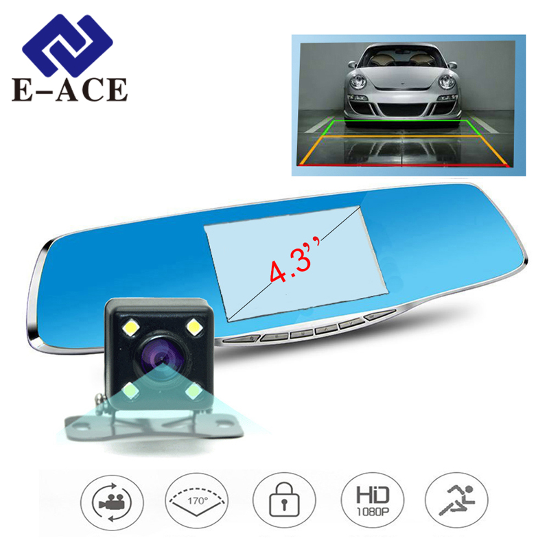 Full HD 1920 1080 Car Dvr Mirror Avtoregistrator Rear View Mirror With Two font b Cameras