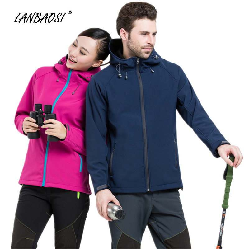 LANBAOSI Sofeshell Hiking Jackets for Men Women Lovers Fleece Windproof Waterproof Outdoor Climbing Camping Sportswear Hoodies