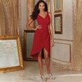 Vnaix B1083 Vestidos de Dama de honra Vermelho V Pescoço com Plissado Alta Baixa Chiffon Casamentos Eventos Vestidos de Dama de Honra Curto