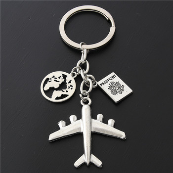 1PC Earth Airplane Keychains No Matter Where Pendant Travel Keyring Friendship Best Friend Jewelry Diy Handmade - discount item  30% OFF Fashion Jewelry