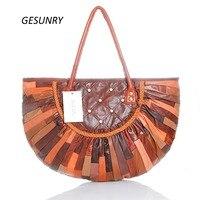 Large Sheepskin Women Bag Genuine Leather Tote Patchwork Bags Designer Handbag Black Free Shipping