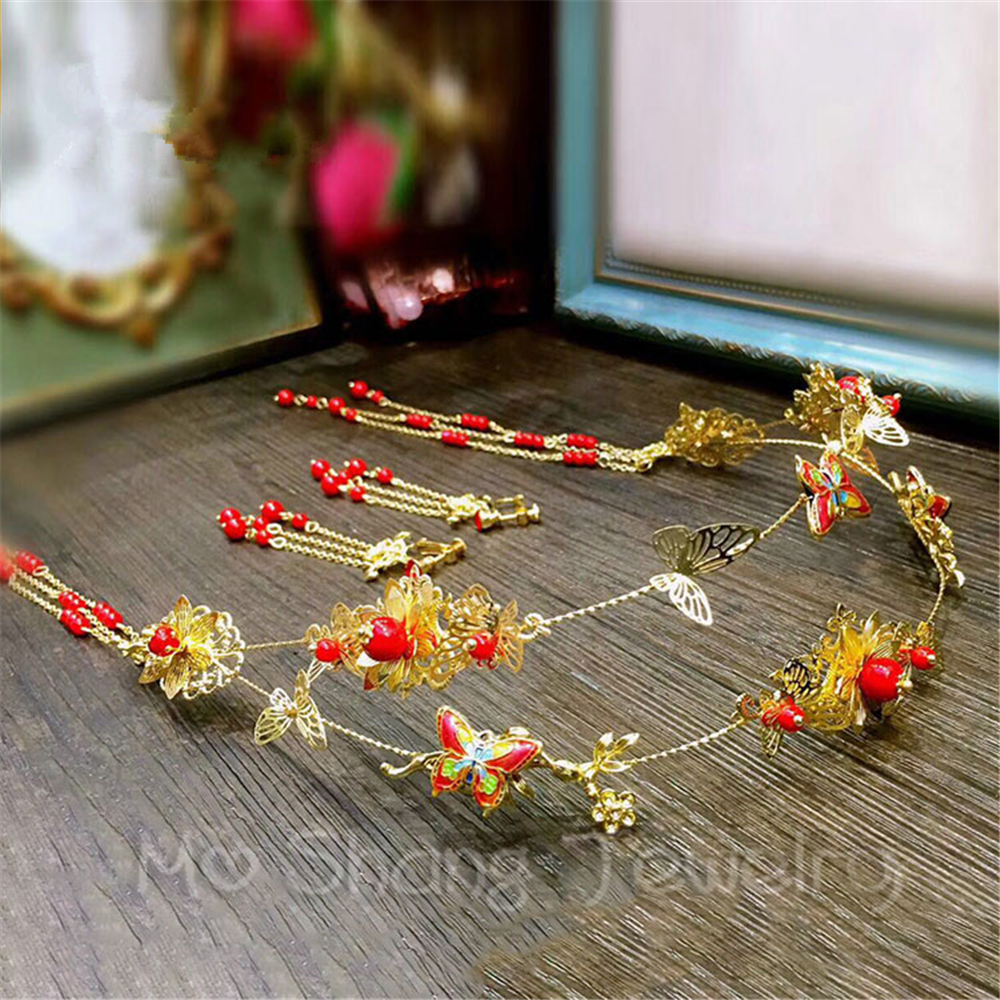 2018 Chinese Wedding Crystal tiara Butterfly Shape Gold Head Chain For Bride Hair Accessories Women Rhinestones Hair Jewelry 00009 red gold bride wedding hair tiaras ancient chinese empress hair piece
