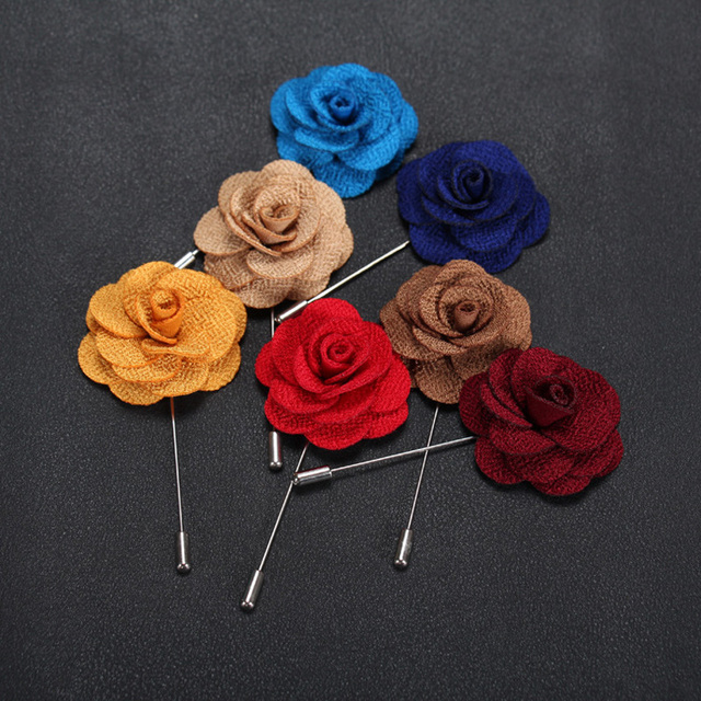 Fabric Flower Brooch Pin For Man Colorful Handmade Mens Bijoux Broche Anniversary Engagement Wedding Party Banquet