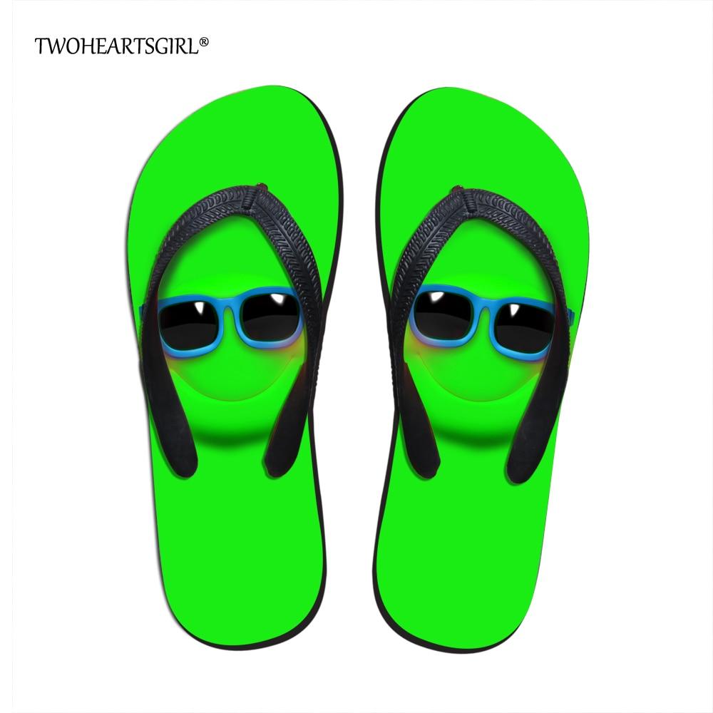 Us 11 19 20 Off Twoheartsgirl Cute Emoji Slimy Face Flip Flop For Women Trendy Fashion Teen Girls Beach Water Shoes Comfort Women Slippers In Flip