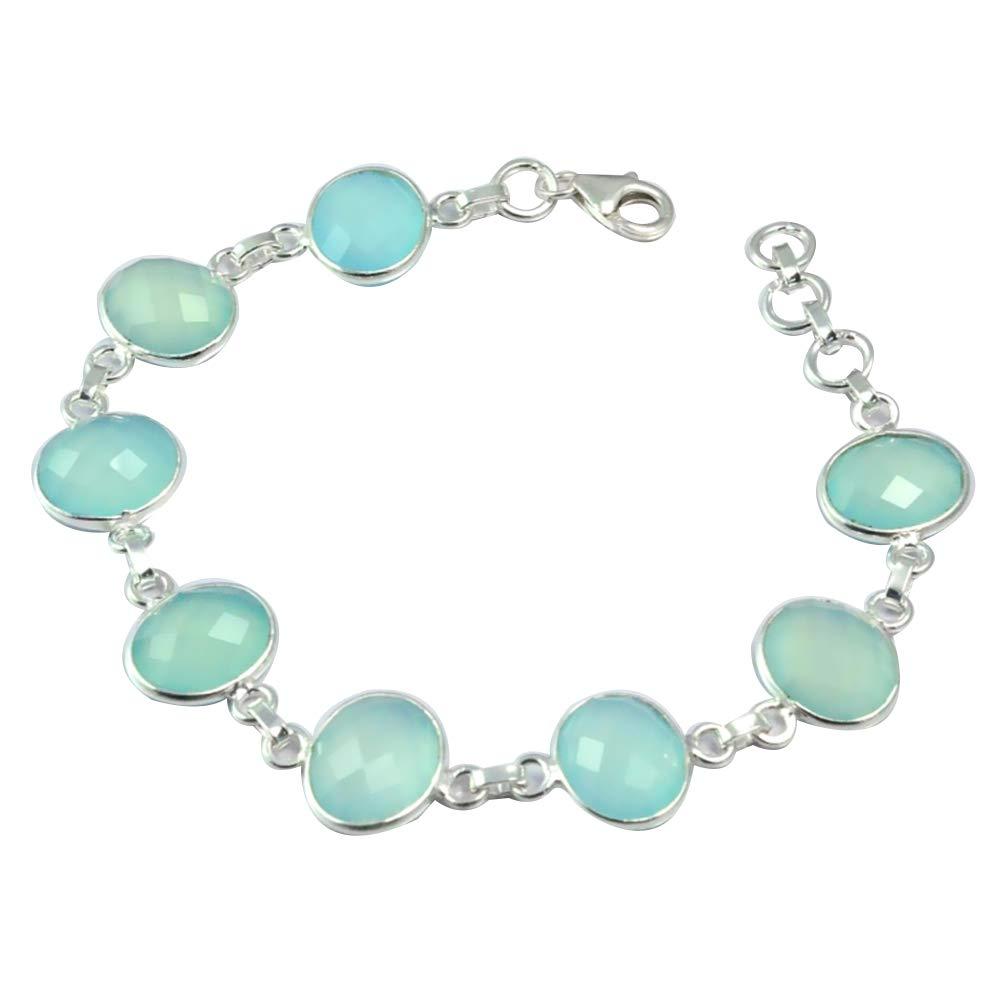 100% QualitäT Niaozaifei Yunzaikan Echtem Faceted Blau Chalcedon Armband 925 Sterling Silber, 20,5 Cm, 2sbr0012