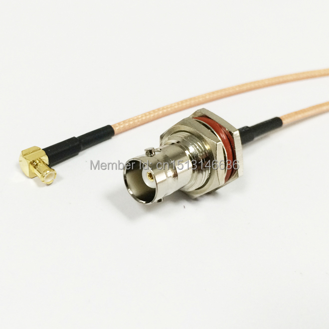 New BNC Female Jack To  MCX Male Plug Right Angle RG316 Cable 15CM 6