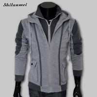 Men Hot Sale Autumn Fake Two Layer Zipper Hoodies And Sweatshirt Color Contrast Men Hoody Jacket