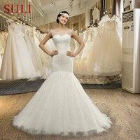 Q026 дешевые длинные Кружево Кристалл спинки открытой спиной Свадебные платья Русалочки