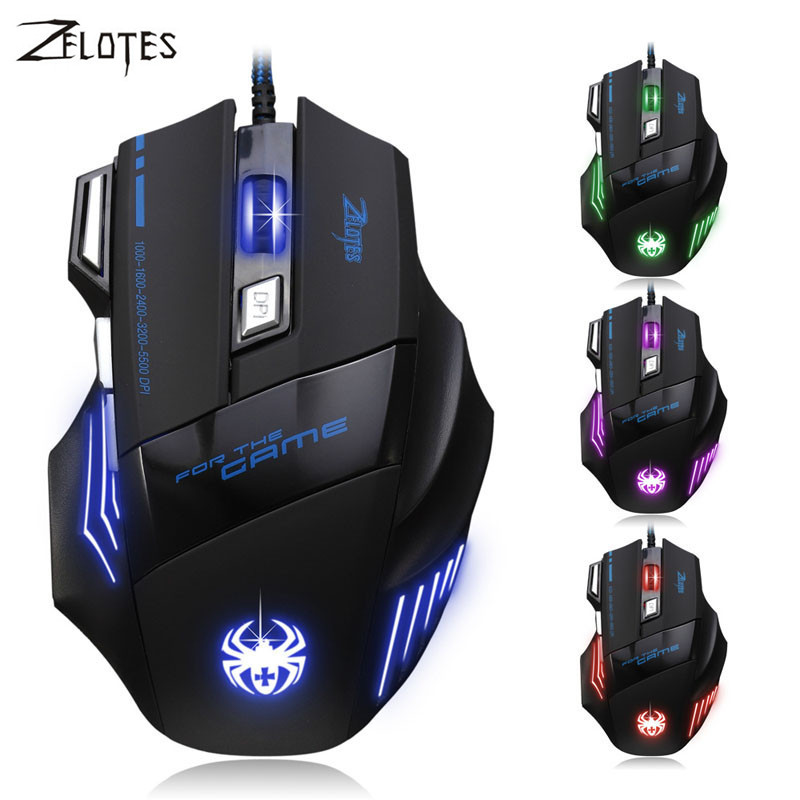 ZELOTES 5500 DPI 7 Button Mouse Gamer Gaming Multi Color LED Optical USB Wired Gaming Mouse For Pro Gamer Wholesale свитшот print bar pro gamer page 7