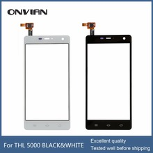 Top Quality 5.0″ For THL 5000 THL5000 Touch Screen Digitizer Sensor Glass Panel Replacement Black White Color
