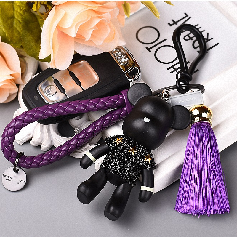 Bomgom Tassels Cartoon Popobe Gloomy Bear Keychain Cute Bag Charm Holder Cartoon Resin Key Chain  Fo-K004-purple