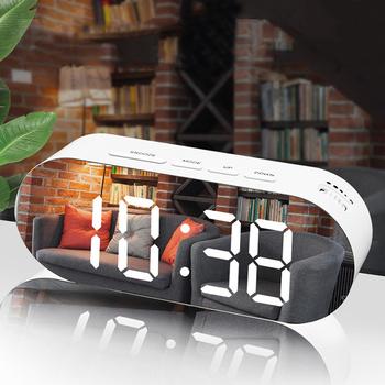 Stół cyfrowy zegar LED wyświetlacz temperatury nowy dom LED zegar elektroniczny biurko lustro zegary z termometrem inteligentny zegar tanie i dobre opinie Luminova DIGITAL Fala ruch Kreatywny Metal Plac Funkcja drzemki 8 cal TS-S25(1-80 75mm 184g 195mm Zegary biurkowe