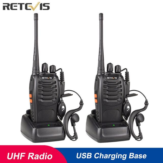2pcs Retevis H777 Walkie Talkie 3W UHF Radio Station 400-470MHz Handheld Transceiver Radio Communicator USB Charger