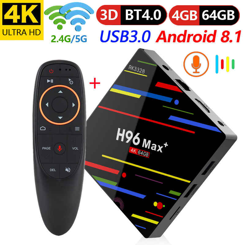 H96 Max Plus RK3328 mini tv box RAM 4G ROM 32G 64G support voice remote for