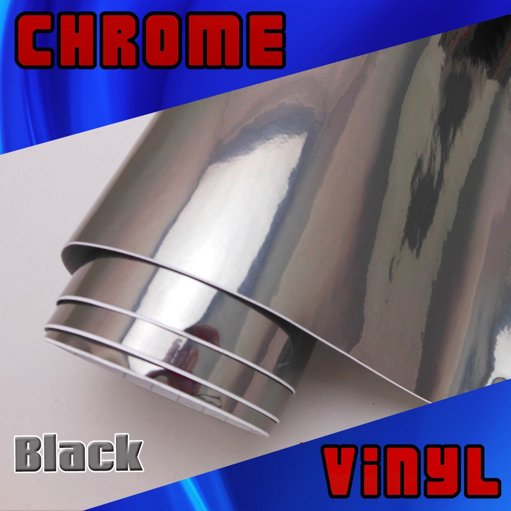 Free shipping Black Mirror Chrome vinyl wrap car sticker with Air Channels Size:1.52*30m