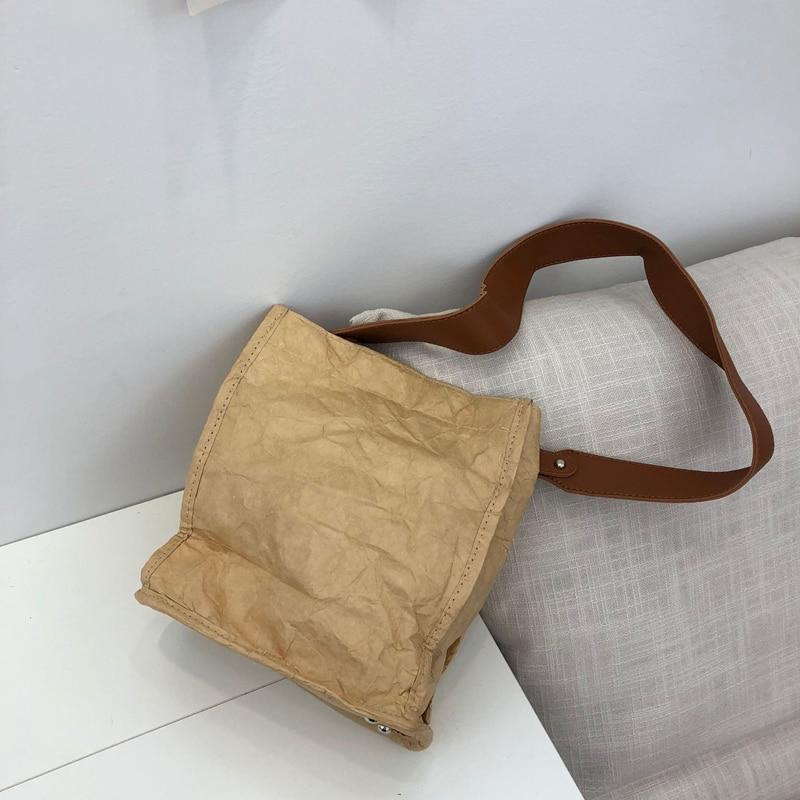 Youda Washed Kraft Paper Totes Waterproof Shoulder Package Diagonal Bags Women's Bucket Bag Simple Ladies Handbags