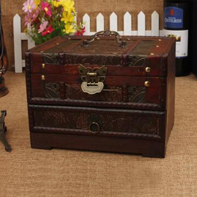 Vintage Wooden Storage Box Jewelry Makeup Organizer European Make Up Boxes  Cassette Metal Lock Cosmetics Organizer Decor Drawer In Storage Boxes U0026 Bins  From ...