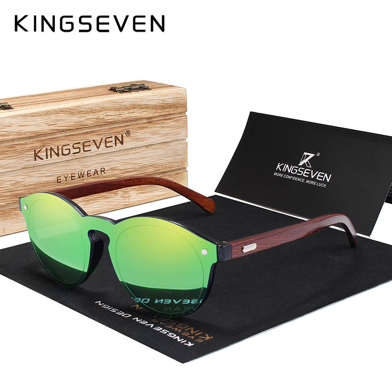 KINGSEVEN DESIGN 2018 Wooden Sunglasses For Men/Women High Quality Mirror Lens UV400 Classic Sun Glasses With Wooden Package