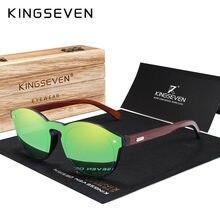 KINGSEVEN-lunettes de soleil DESIGN, verres solaires classiques UV400, avec emballage en bois, pour hommes/femmes, verres réfléchissants de haute qualité, collection 2018