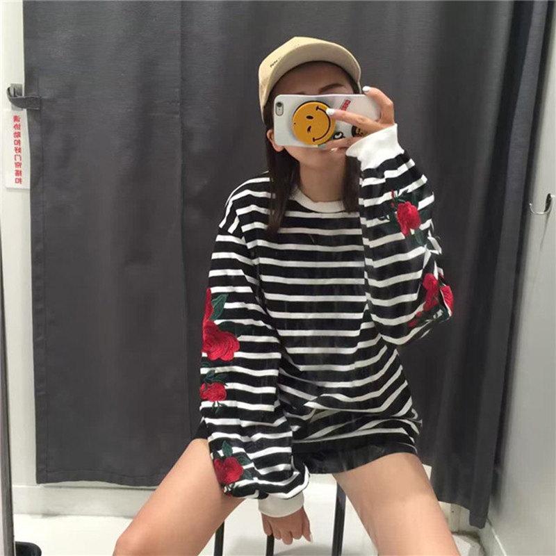 2018 neue Herbst Harajuku Hoodies Rosen Stickerei Laterne Hülse Lose - Damenbekleidung - Foto 3