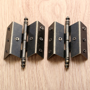 2Pcs Bronze Hinges Antique Vintage Tone Cabinet Door Luggage Crown Hinge 8 Holes Decor Furniture Decoration with 16 srews electricity cabinet bronze tone metal concealed hinge is generally used as fixing hinge