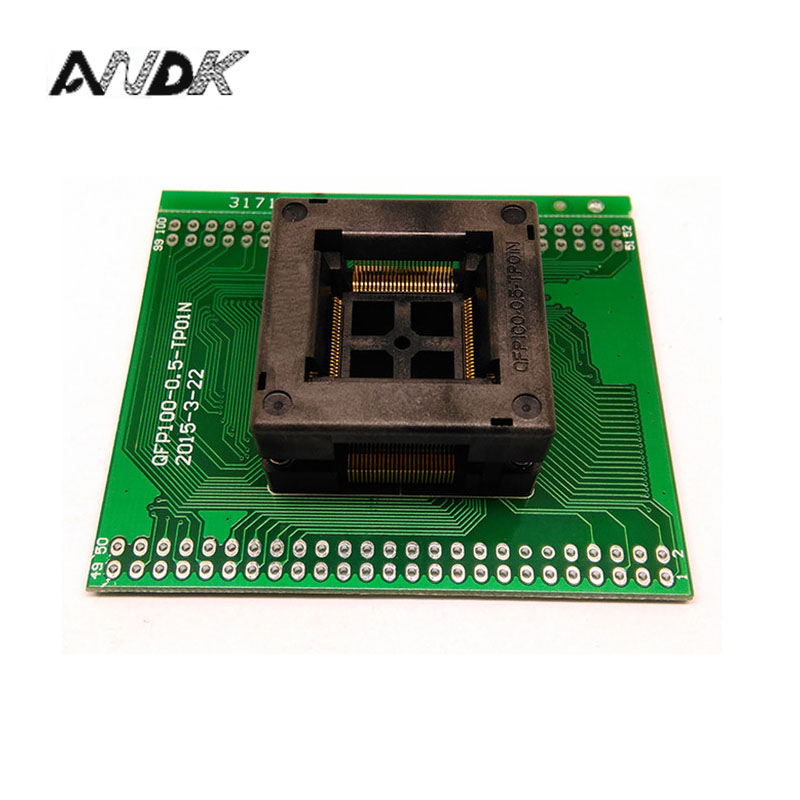 TQFP100 FQFP100 QFP100 to DIP100 Programming Socket OTQ-100-0.5-09 Pitch 0.5mm IC Body Size 14x14mm Test Socket free shipping sop32 wide body test seat ots 32 1 27 16 soic32 burn block programming block adapter