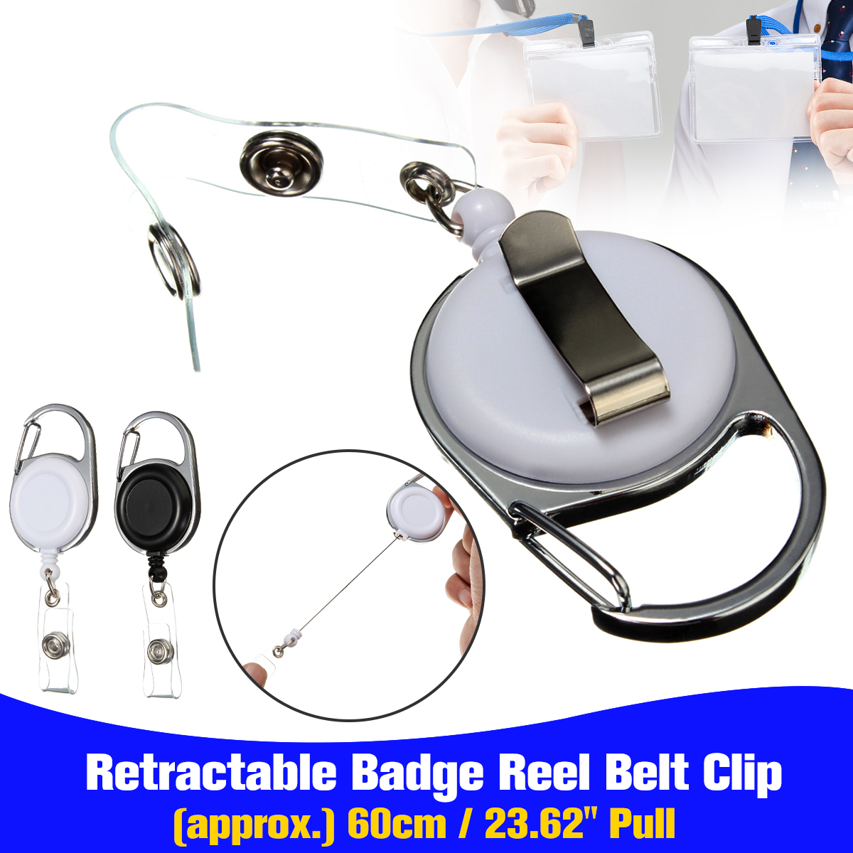 Kicute New Retractable Pull Key Ring ID Badge Lanyard Name Tag Card Holder Recoil Reel Belt Clip Metal Housing Plastic Covers