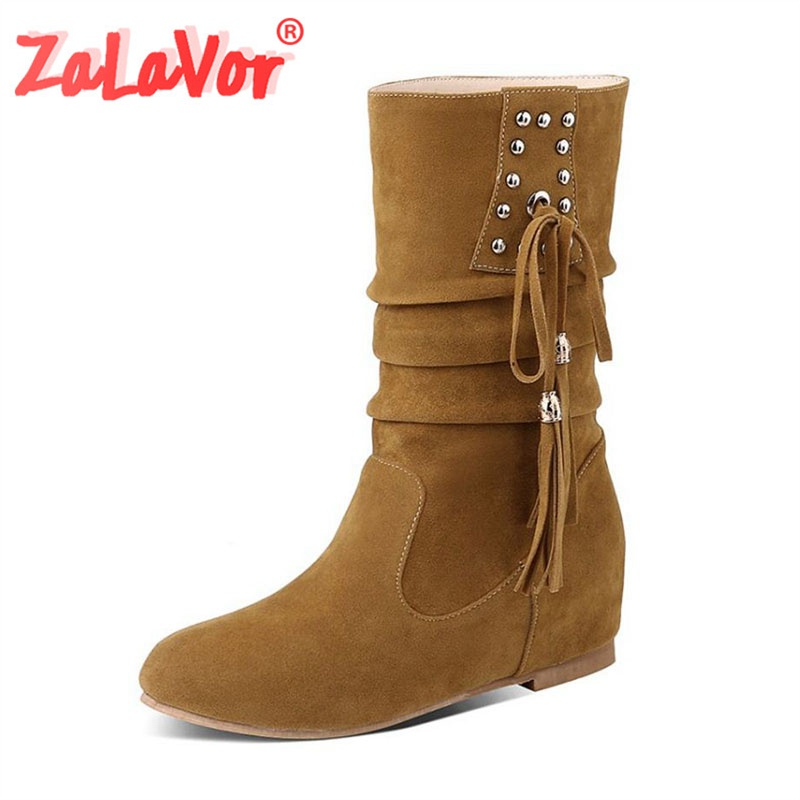ZALAVOR Women Shoes Plus-Size Calf-Boots Tassel-Height Female Winter Warm Mid Increasing