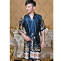 Chegada nova Unisex Faux Seda Quimono Roupão de Banho Vestido de Homens Com Decote Em V Sleepwear Estilo Chinês Impresso Pijamas One Size