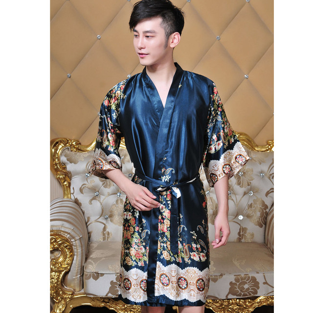 New Arrival Unisex Faux Silk Kimono Robe Bath Gown Men V-Neck Long Sleepwear Chinese Style Printed Pijamas One Size