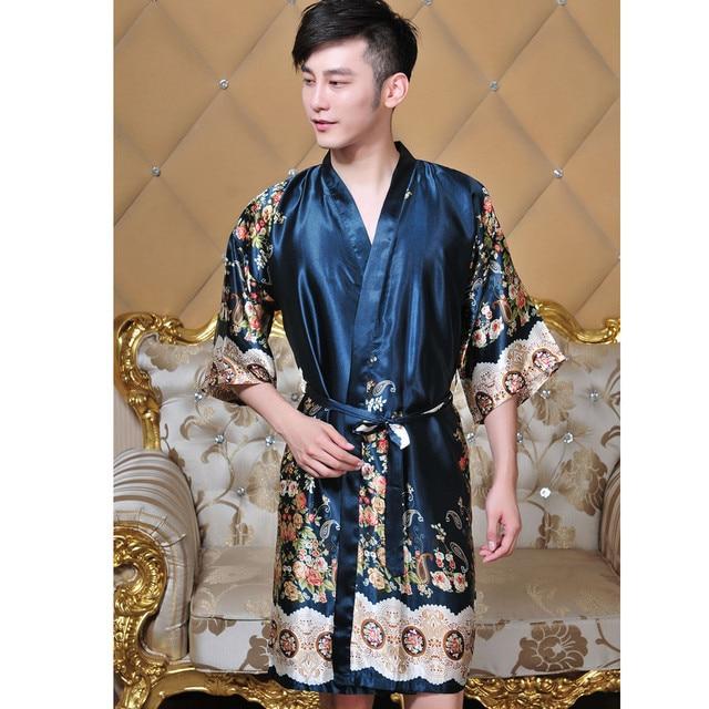 Nueva Llegada Unisex Kimono Albornoz Bata de Seda del Faux de Los Hombres Con Cuello En V Larga Estilo Chino Impreso Pijamas de Dormir Un Tamaño