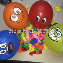 12 inch big eyes smiling face balloon 50pcs /lot  thick balloon big eyes smile printing BALLOON Birthday wedding decoration big eyes