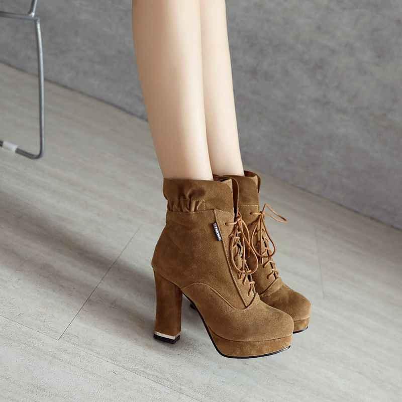 11ee6bda ... REAVE CAT/новые женские ботильоны женские с оборками на высоком каблуке  со шнуровкой ботинки на