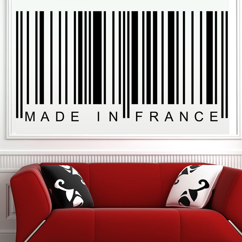 Made In France Barcode Wall Sticker Living Room Sofa Background Decorative Vinyl Removable Wall Mural sticker