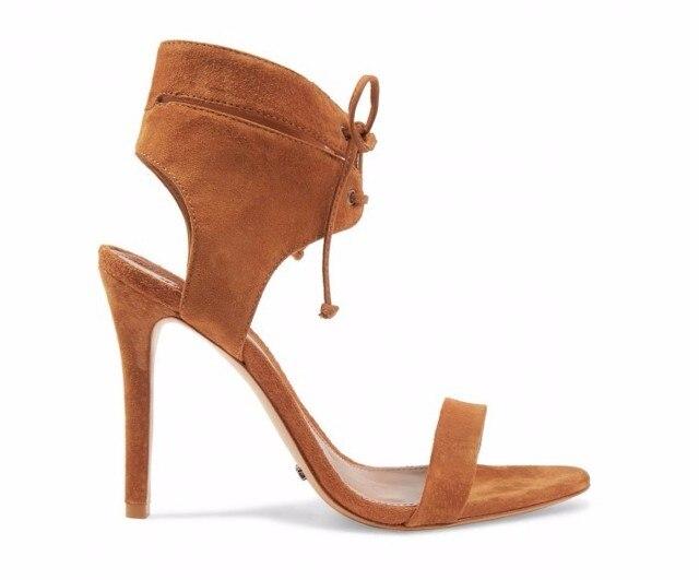 peep toe high thin heel dark khaki women sandals ankle cross tied