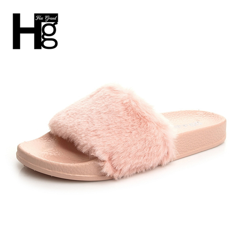 HEE GRAND Spring Autumn Super Soft Fur Sliders Shoes Thicken Home Plush Slippers Women Faux Fur Slides Flip Flops XWT864
