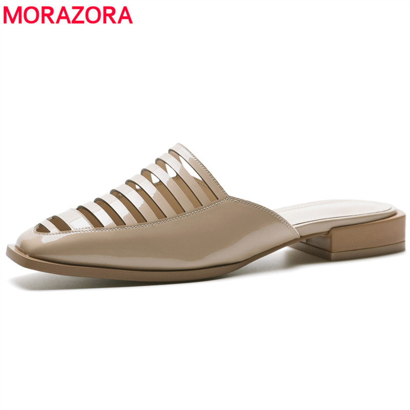 MORAZORA Plus size 34-43 New fashion mules woman patent leather women sandals cut outs summer flat sandals ladies dress shoes gktinoo genuine leather sandals women flat heel sandals fashion summer shoes woman sandals summer plus size 35 43 free shipping