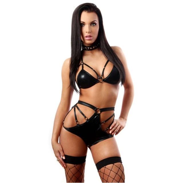 short Sexy black hair lingerie